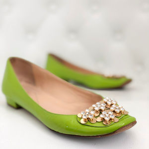 Kate Spade Lime Green Flats with Gold Flowers
